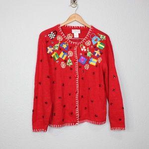 Vintage Talya Red Ugly Holiday Cardigan sz Large